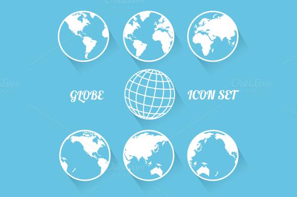 Vecrot Globe Icon Set Flat Style