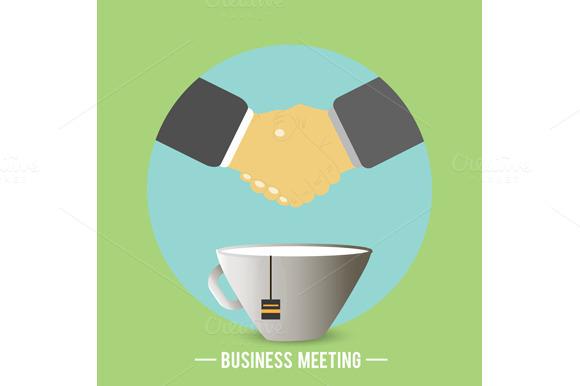 Handshake Behind A Cup Of Tea Coffe