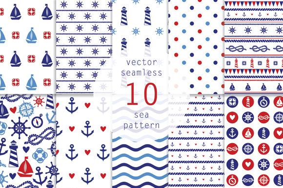 10 Nautical Seamless Pattern
