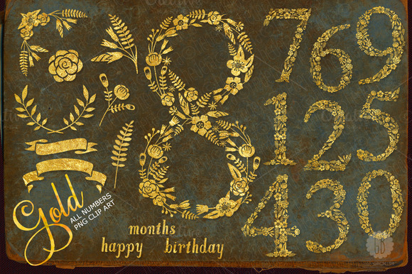 Floral Golden Numbers Glam Glitter