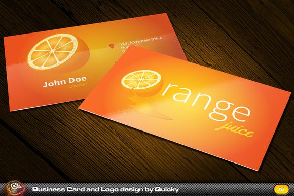 Orange Juice Business Card And Logo