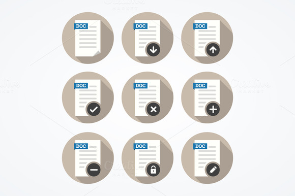 Set Of Doc File Icons