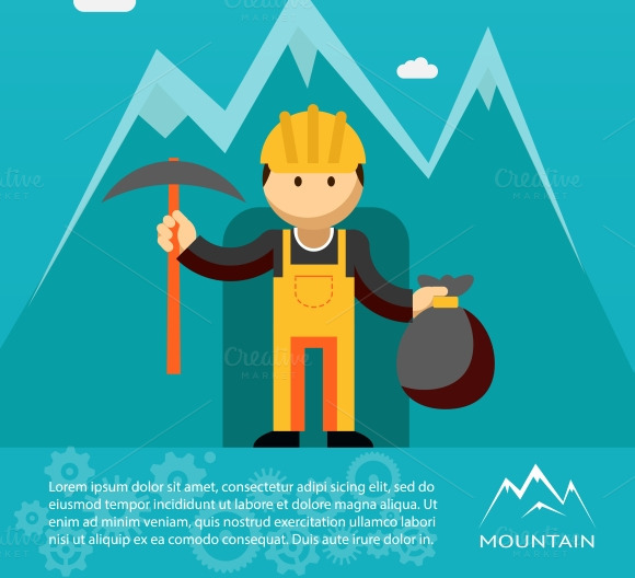 Mountain Worker With Sack Of Gold