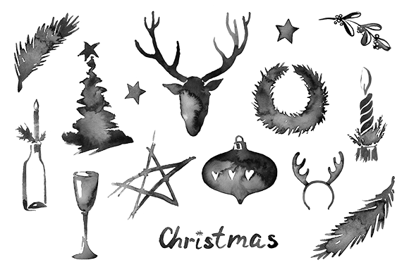 Christmas Watercolor Stains-icon Set
