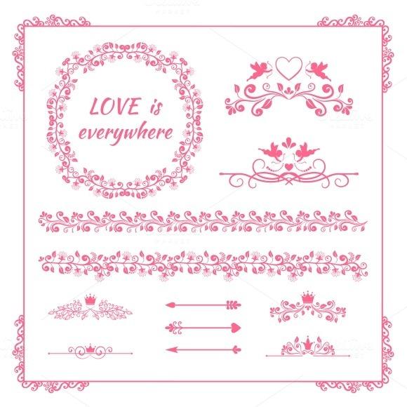 Pink Floral Element For Wedding