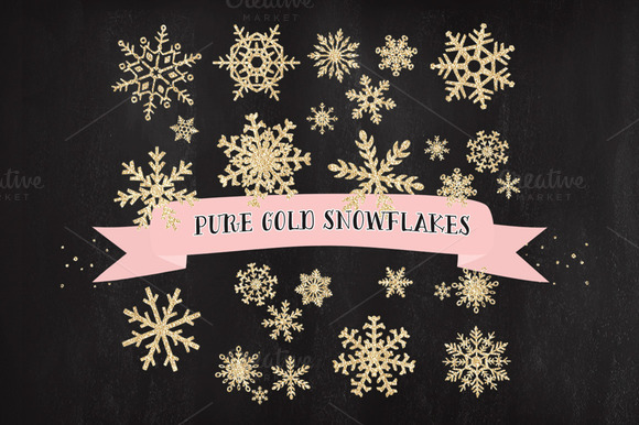 Snowflakes Gold Christmas Clipart