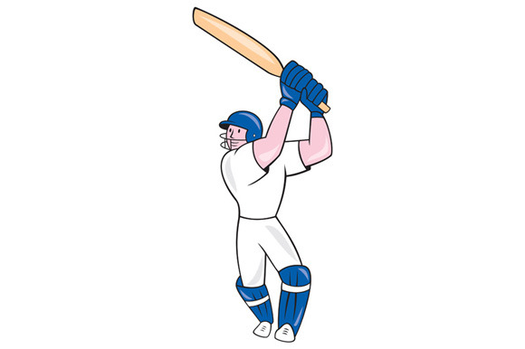 Cricket Player Batsman Batting Carto