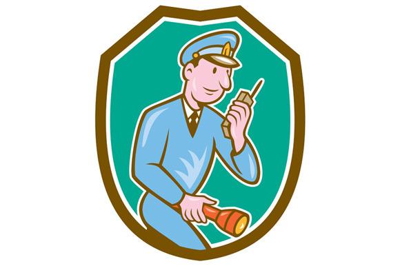 Policeman Torch Radio Shield Cartoon