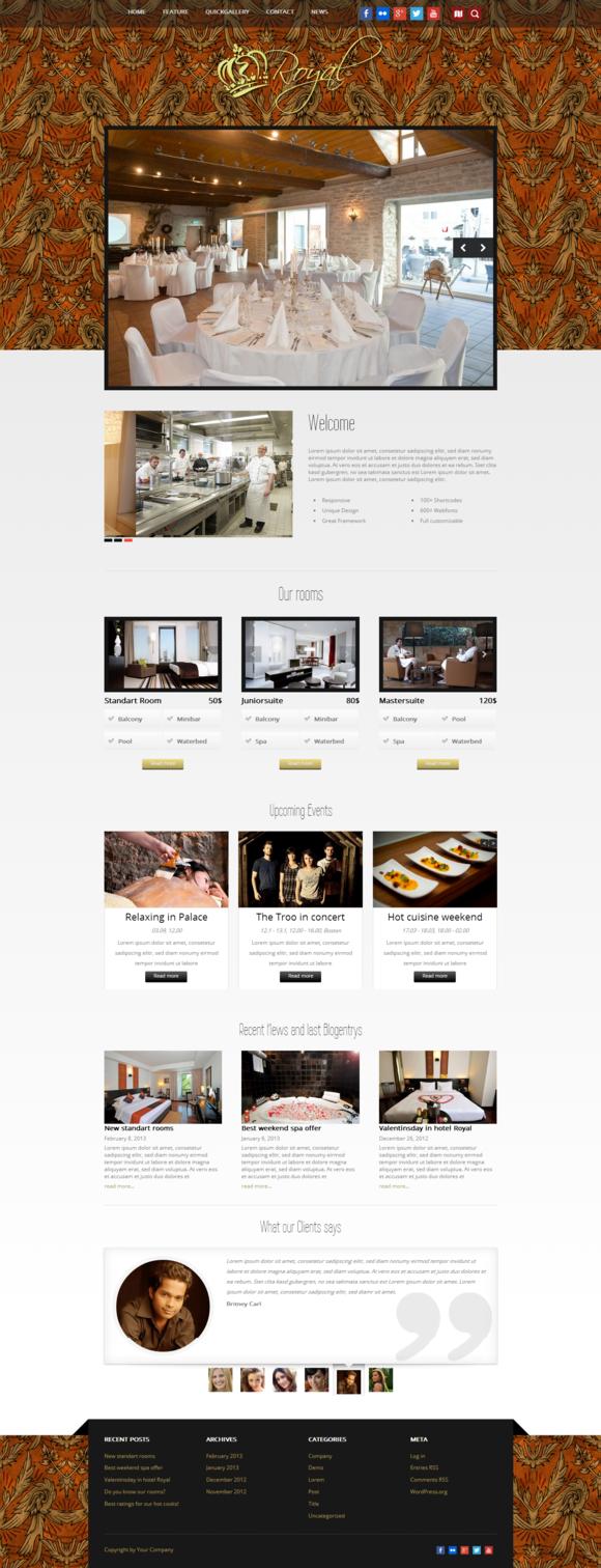 Royal WordPress Hotel Theme