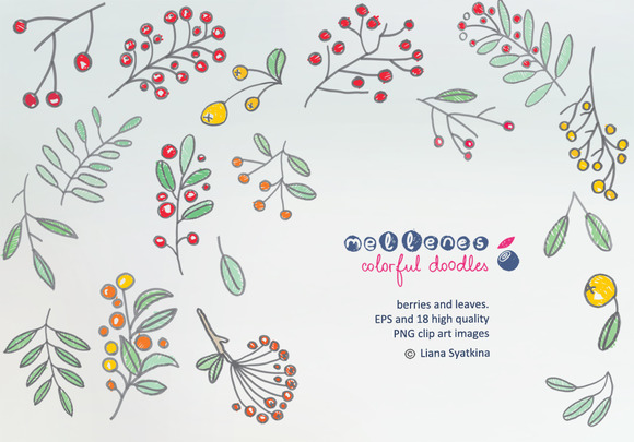 Doodle Berries And Leaves