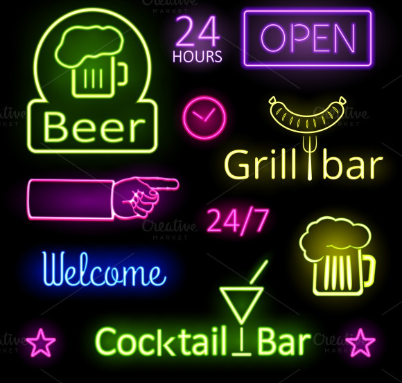 Glowing Neon Lights Bar Signs