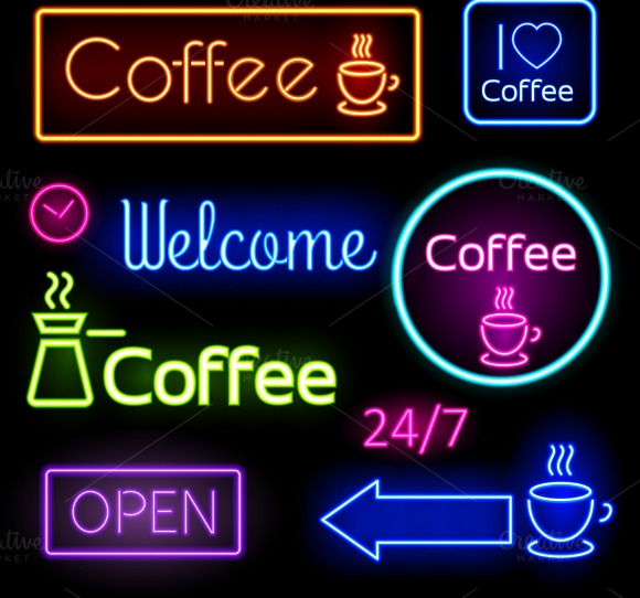 Glowing Coffee Neon Signs