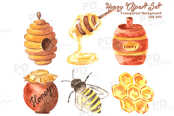 Watercolor Honey Bee Clipart