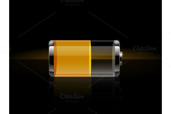 Set Glossy Transparent Battery Icons