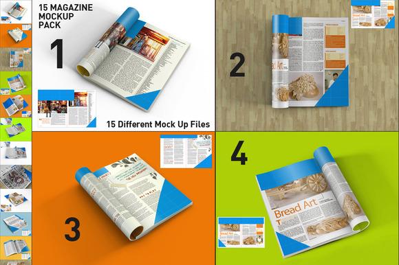 15 Magazine Mock Up Pack