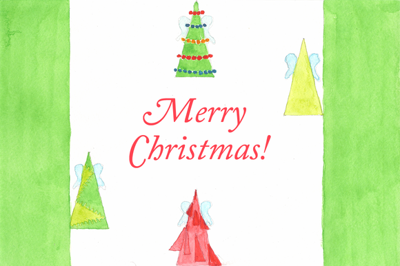 Christmas Trees Watercolor Clip Art