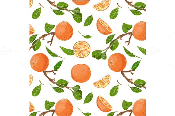 Oranges And Leaves Seamless Pattern