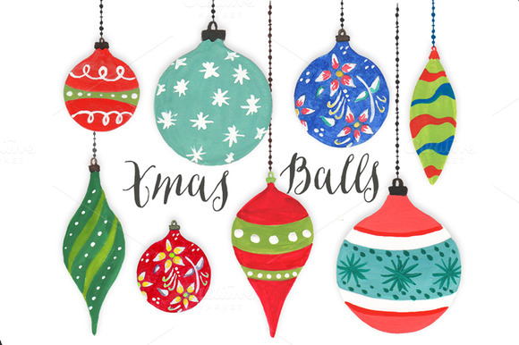 Christmas Clipart Watercolor Balls