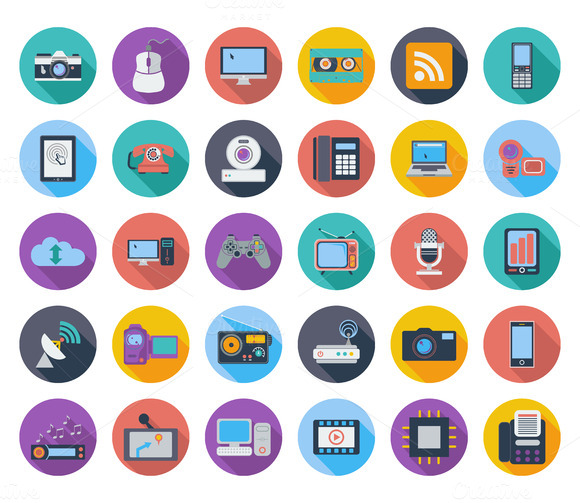 Devices Icons Whit Long Shadow