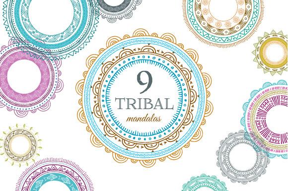 9 Tribal Mandalas Frames Patterns