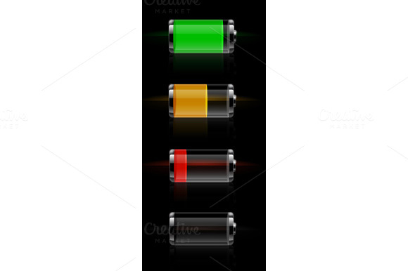 Glossy Transparent Battery Level