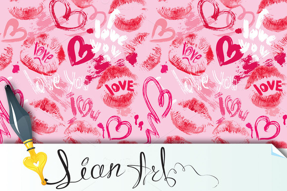 Seamless Pattern With Hearts Lips