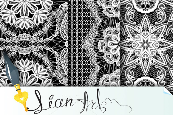 Seamless Pattern Floral Lace Ornam