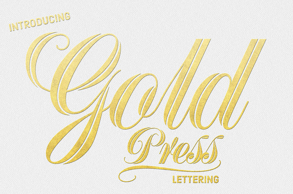 Gold Press Lettering