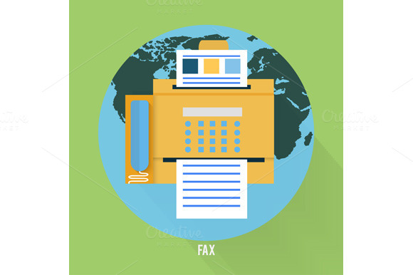 Set Fax Icon In Flat Design