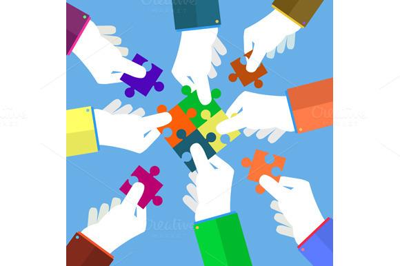Businessmans Assembling Jigsaw
