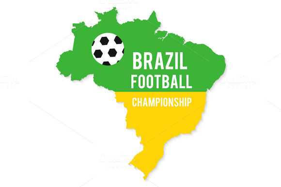 Brazil Map In Colors Of Flag