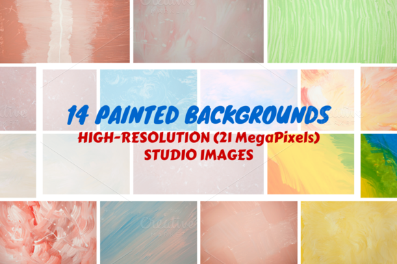 14 Painted Backgrounds Set