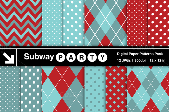 Aqua Red Chevron Argyle Polka Dot