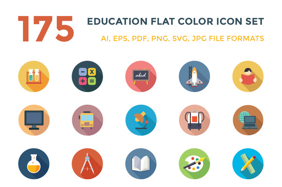 175 Education Flat Color Icon Set