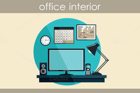 Flat Illustration With Office Thing