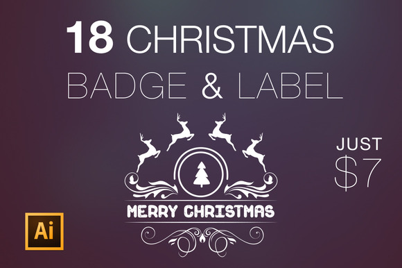 18 Christmas Greetings Badge Label