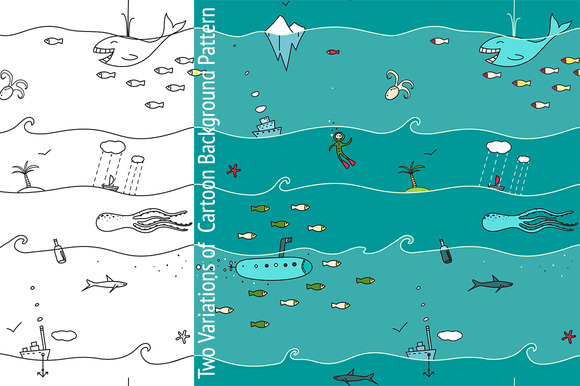 Underwater Seamless Pattern Cartoon