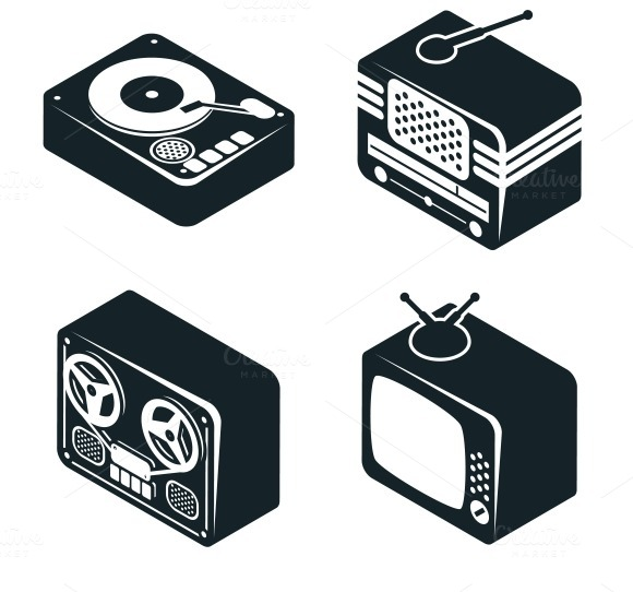 3D Icons Of Retro Media Devices