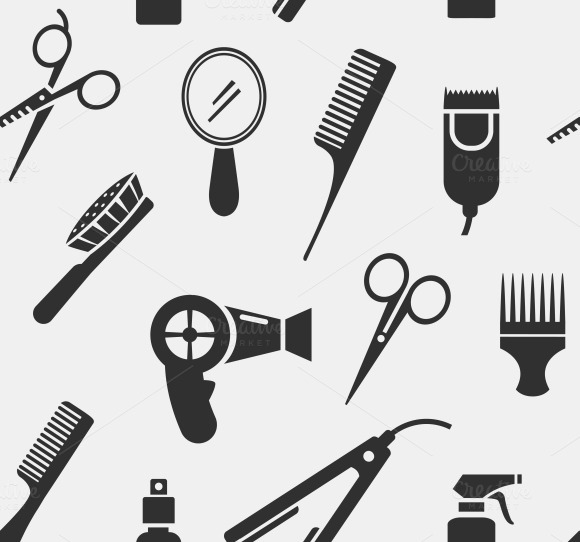 Hairdressing Tools Seamless Pattern