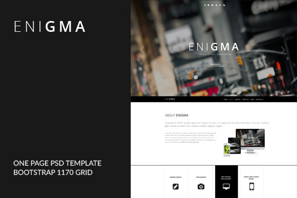 Enigma-One Page PSD Template