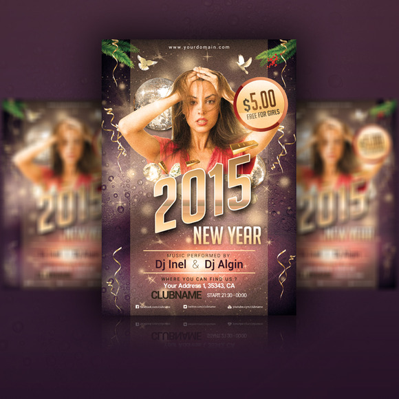 2015 New Year Flyer PSD Template