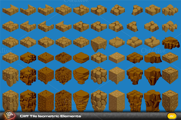 Cliff Elements Isometric Tiles