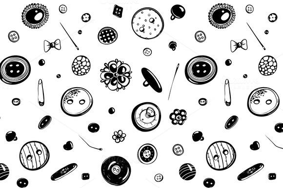 Buttons And Needles Seamless Pattern