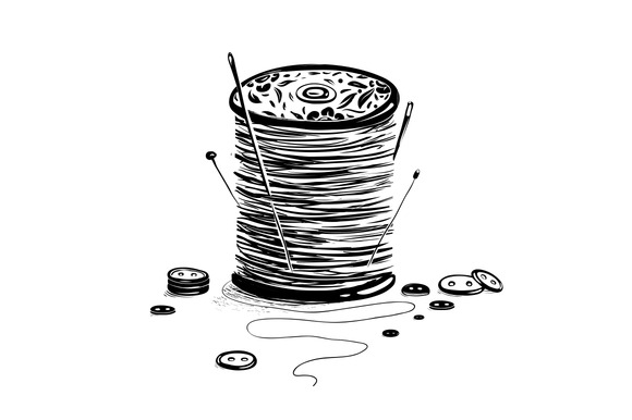 Spool Of Thread With Needles