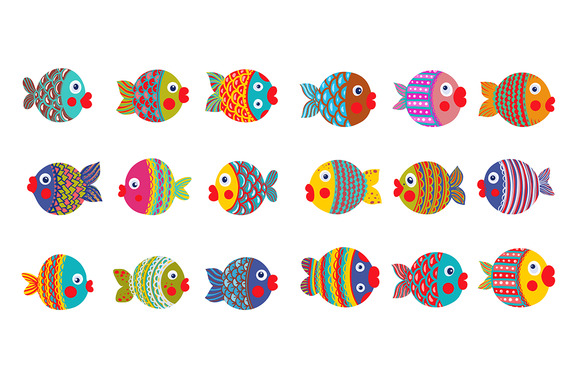 Fish Collection Colorful Graphic