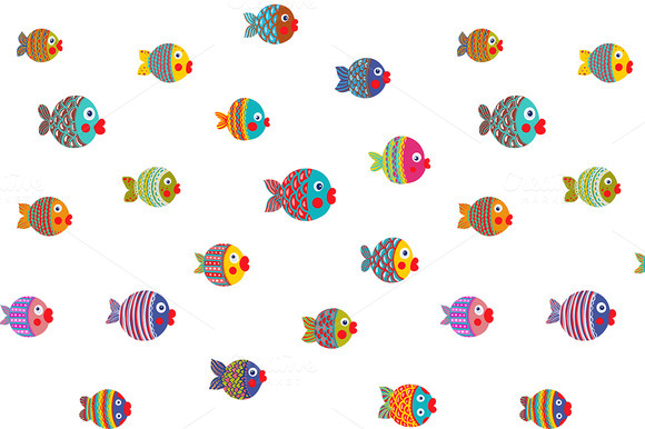 Fish Shoal Cartoon Seamless Pattern