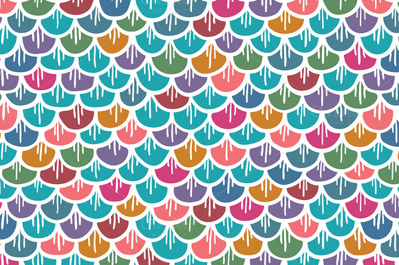 Fish Scales Seamless Pattern Colored