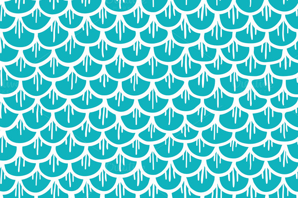 Fish Scales Seamless Pattern Cartoon