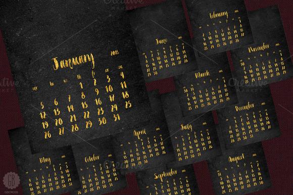 2015 Calendar Glitter Chalkboard