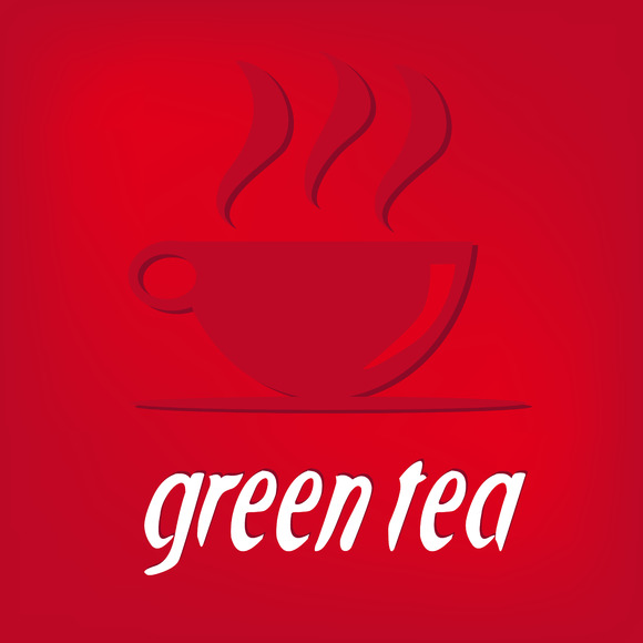 Green Tea On Red Background